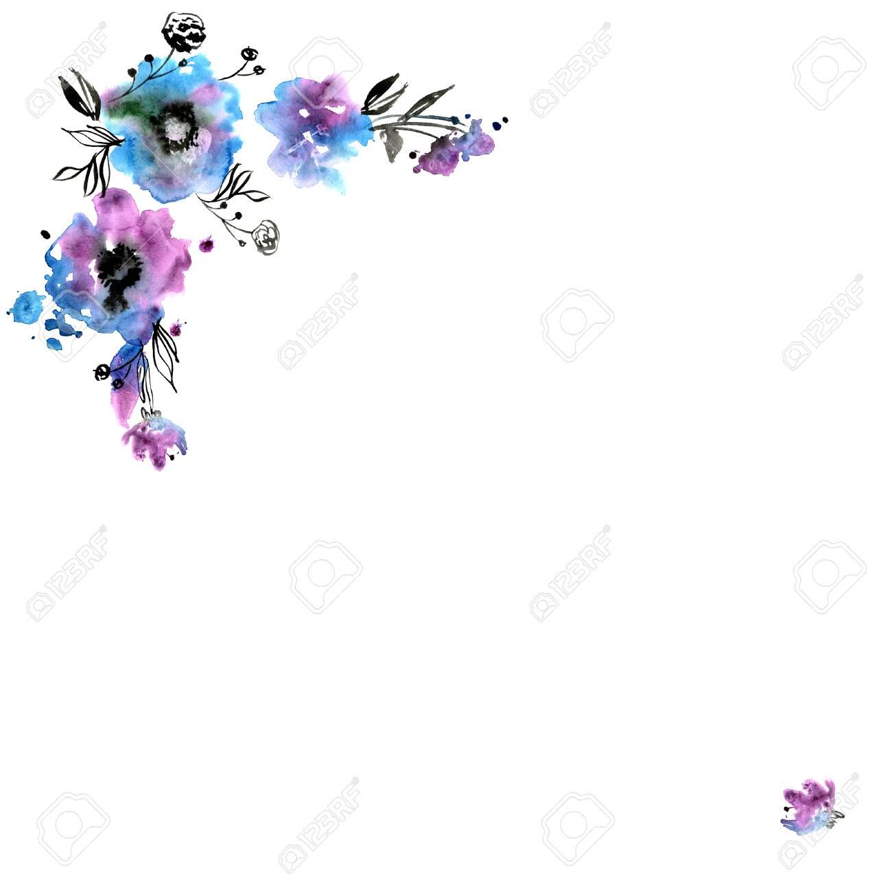 Cute Watercolor Flower Frame Invitation Wedding Card Birthday