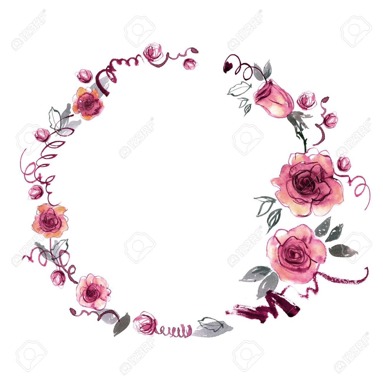Cute watercolor hand painted flower frame background with pink cute watercolor hand painted flower frame background with pink roses invitation wedding card stopboris Gallery