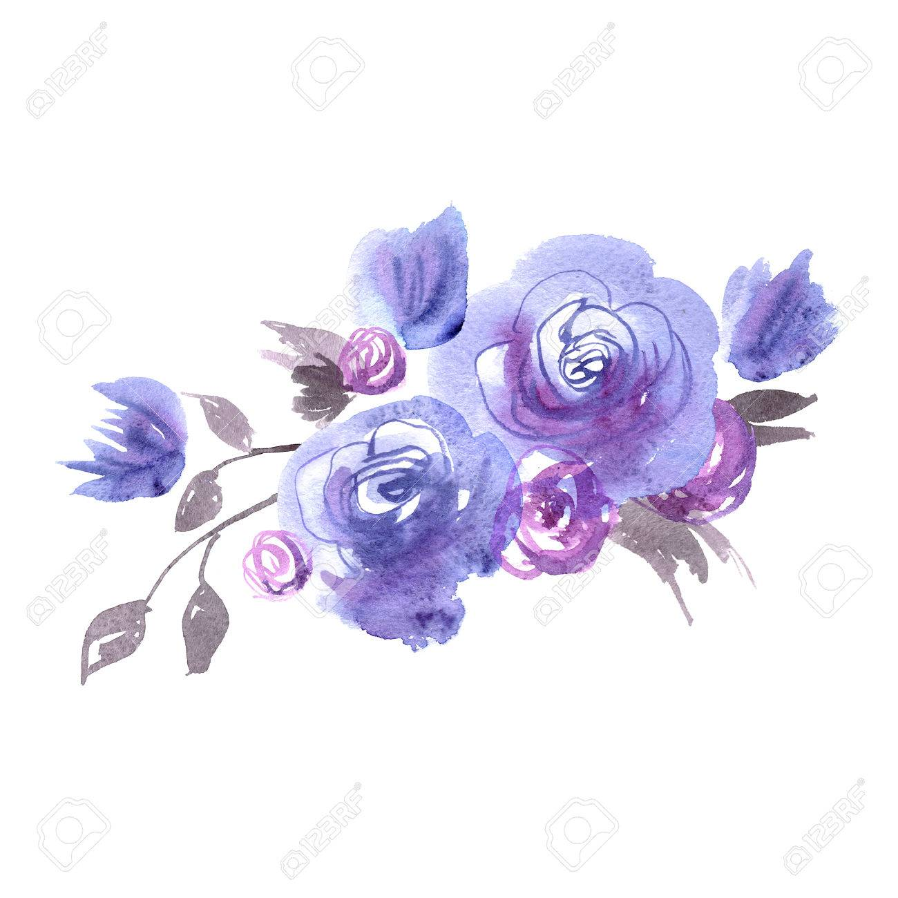 cute watercolor flowers blue roses elements for invitation