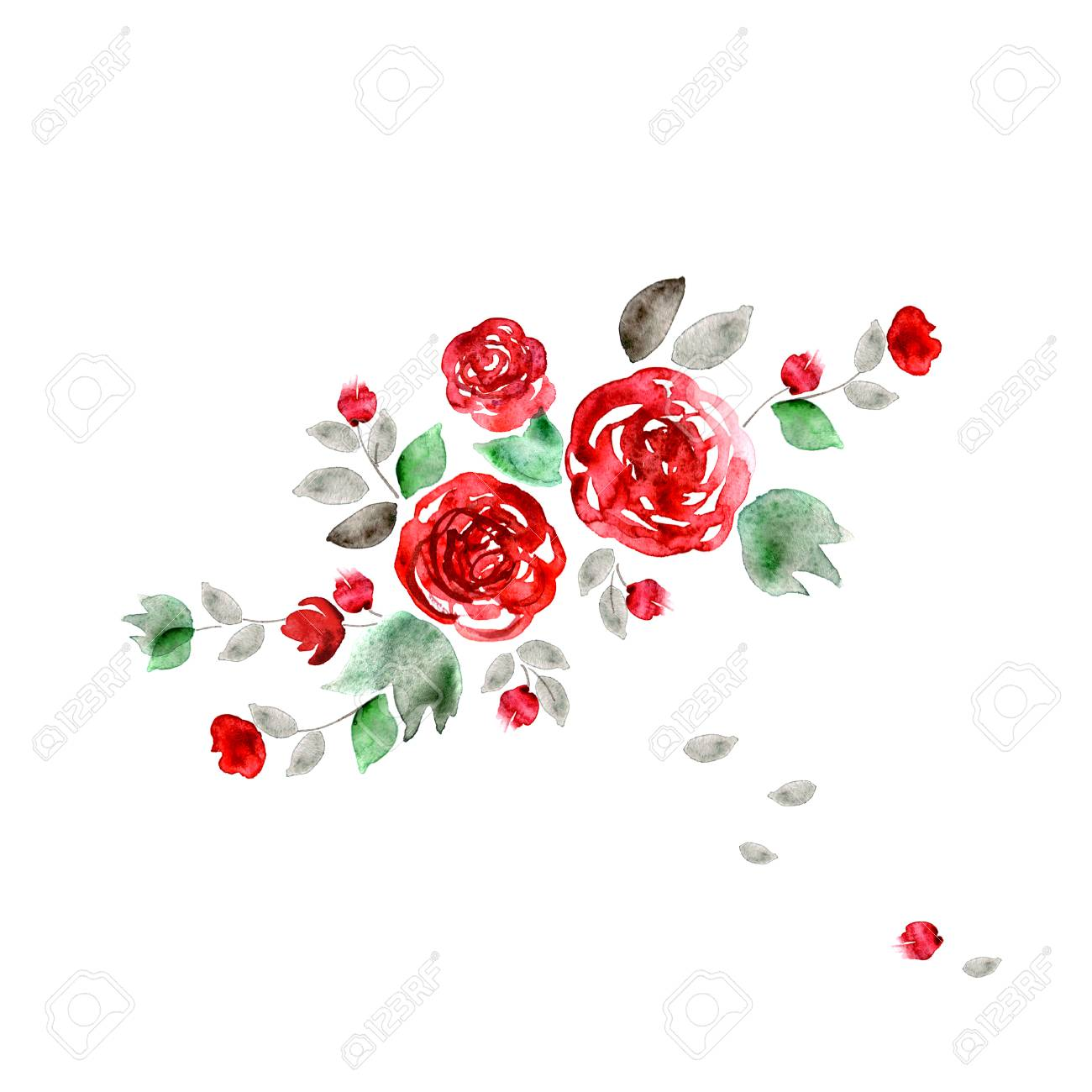 Cute Watercolor Flowers. Background With Red Roses. Invitation ...