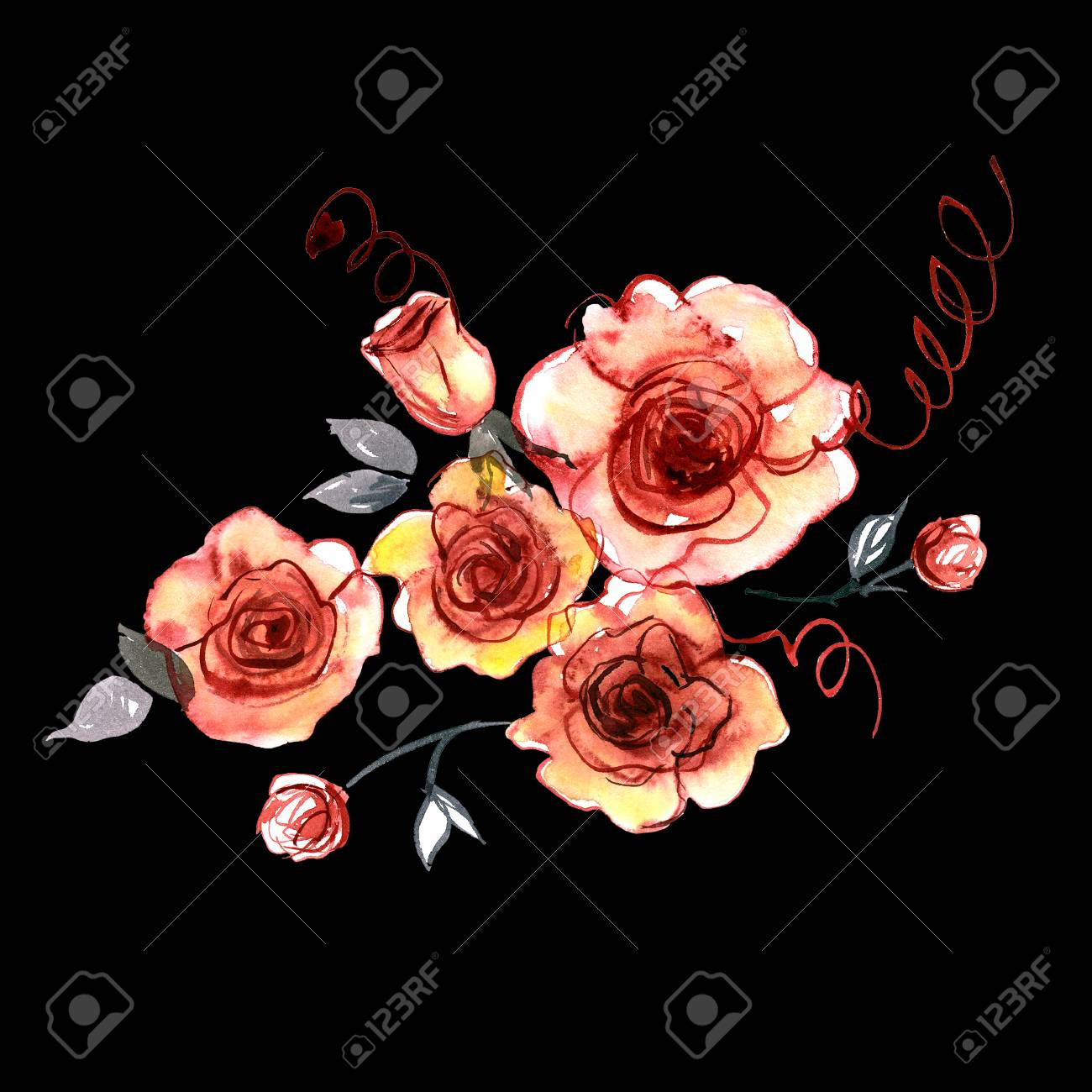 Cute Watercolor Hand Painted Flowers On A Black Background ...