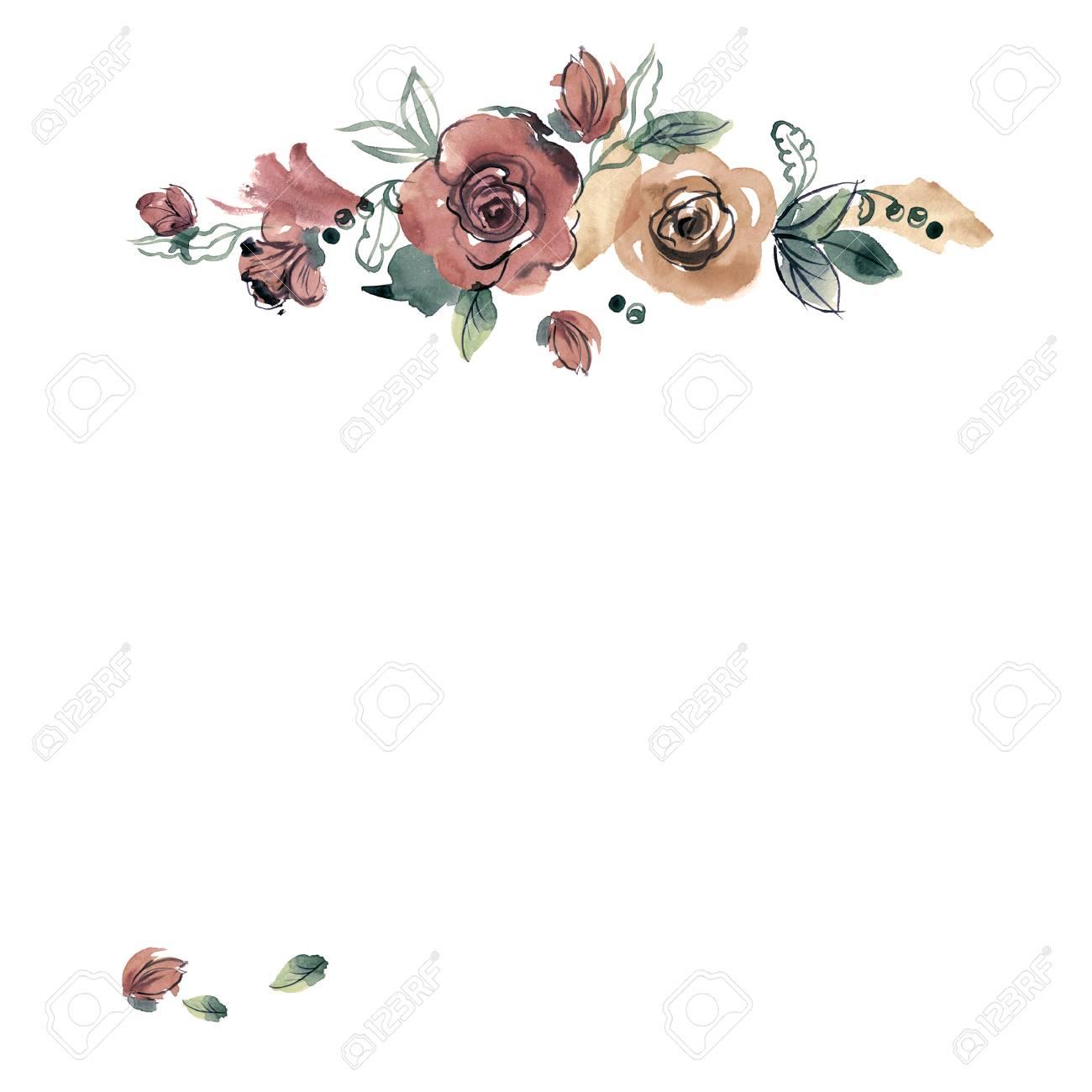 Marco Lindo De La Flor De Acuarela. Rosas. Invitación, Invitación De ...