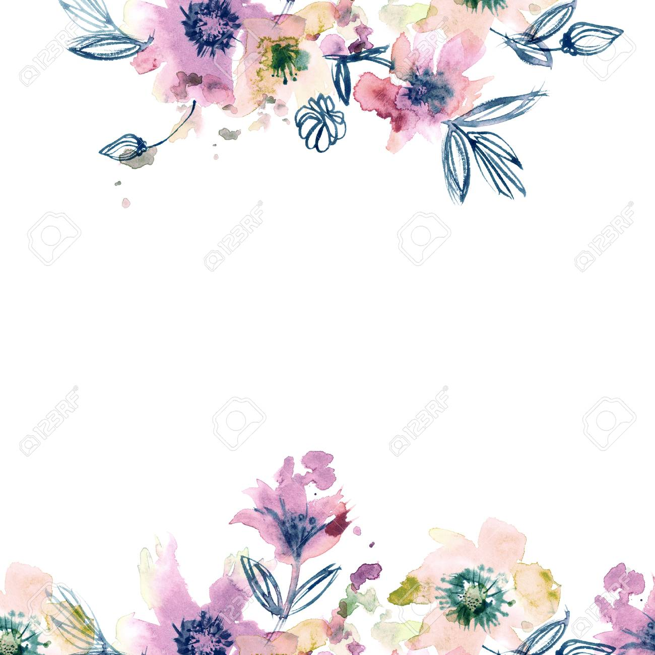 Watercolor Hand Painted Abstract Spring Flowers On A White Background