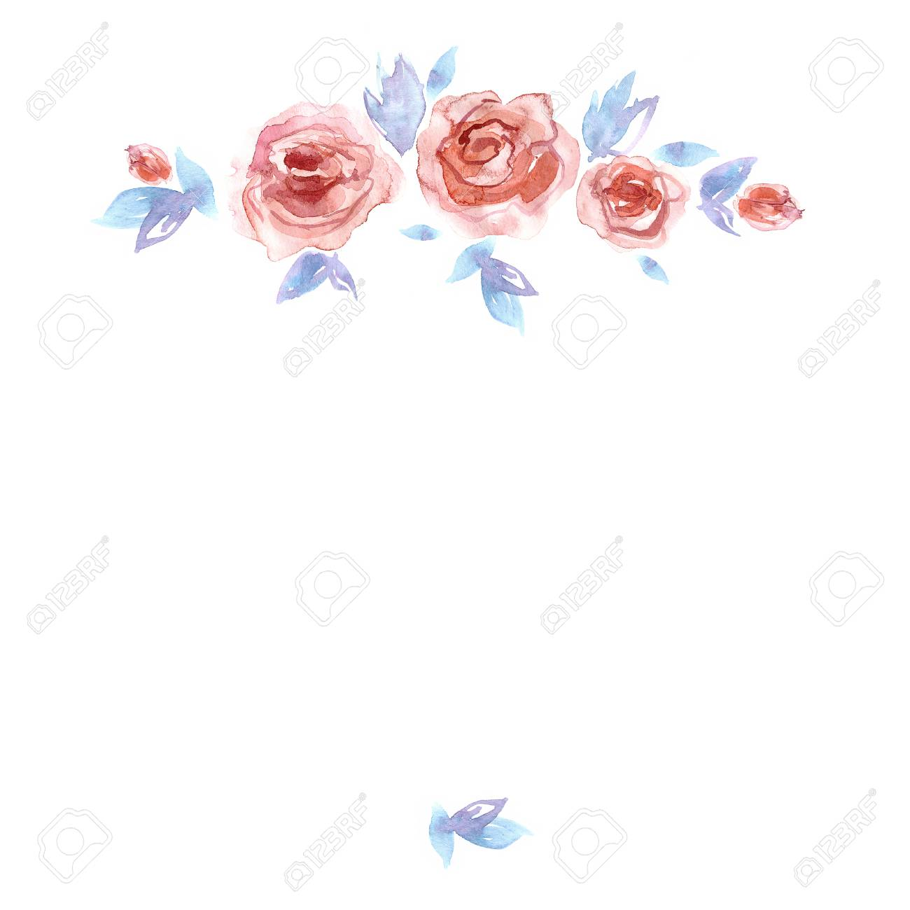 Cute Watercolor Flower Frame Background With Roses Invitation Wedding Card Birthday Card