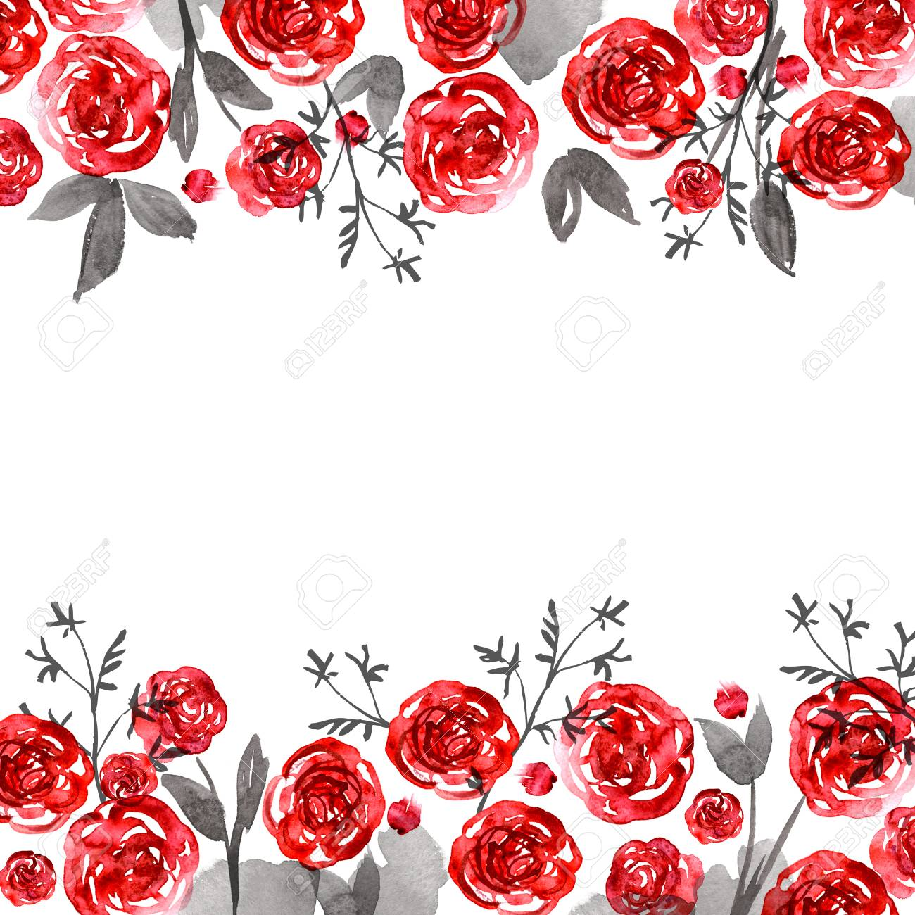 Cute Watercolor Flower Frame Background With Roses Invitation