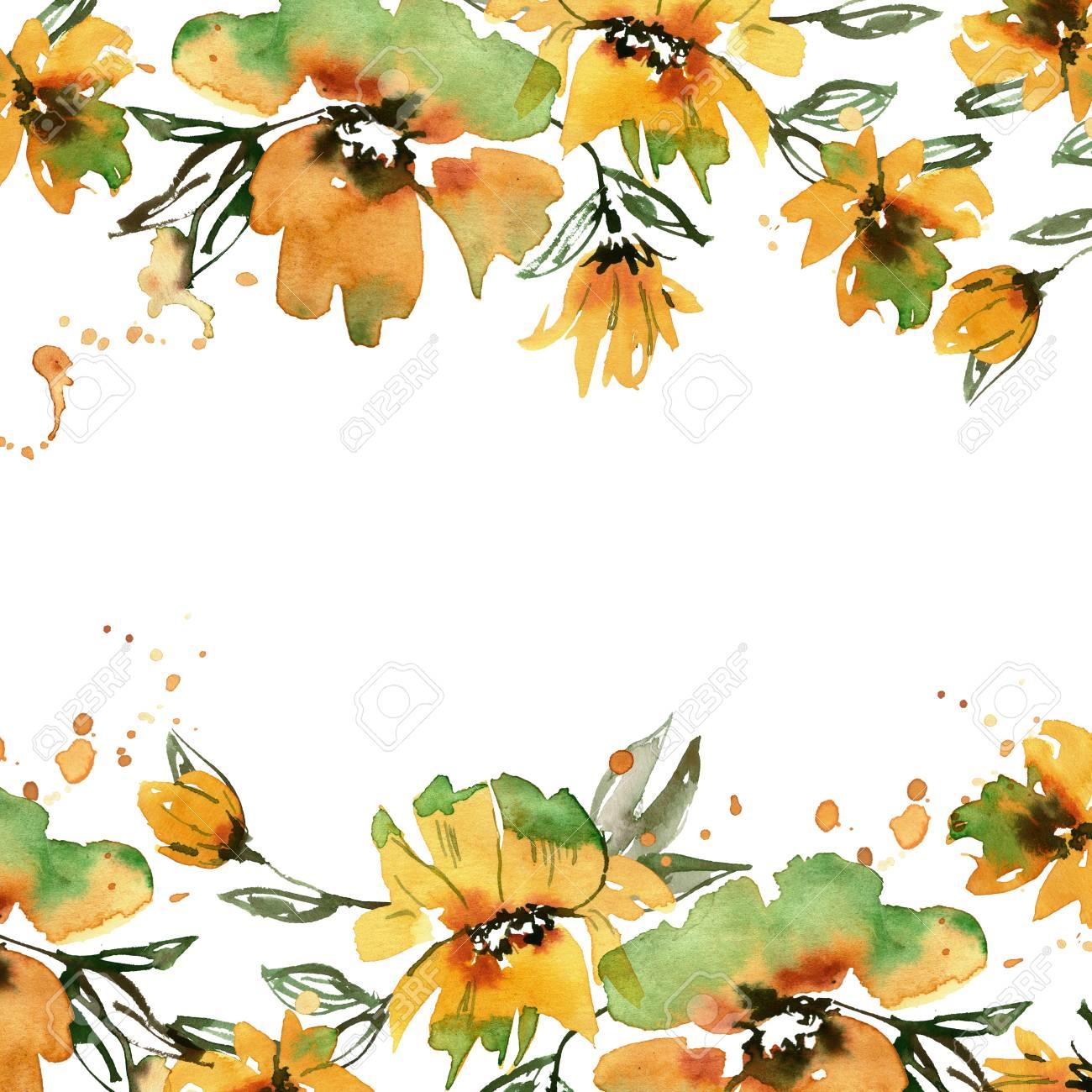 Hand Painted Yellow Flowers Invitation Wedding Card Birthday Card