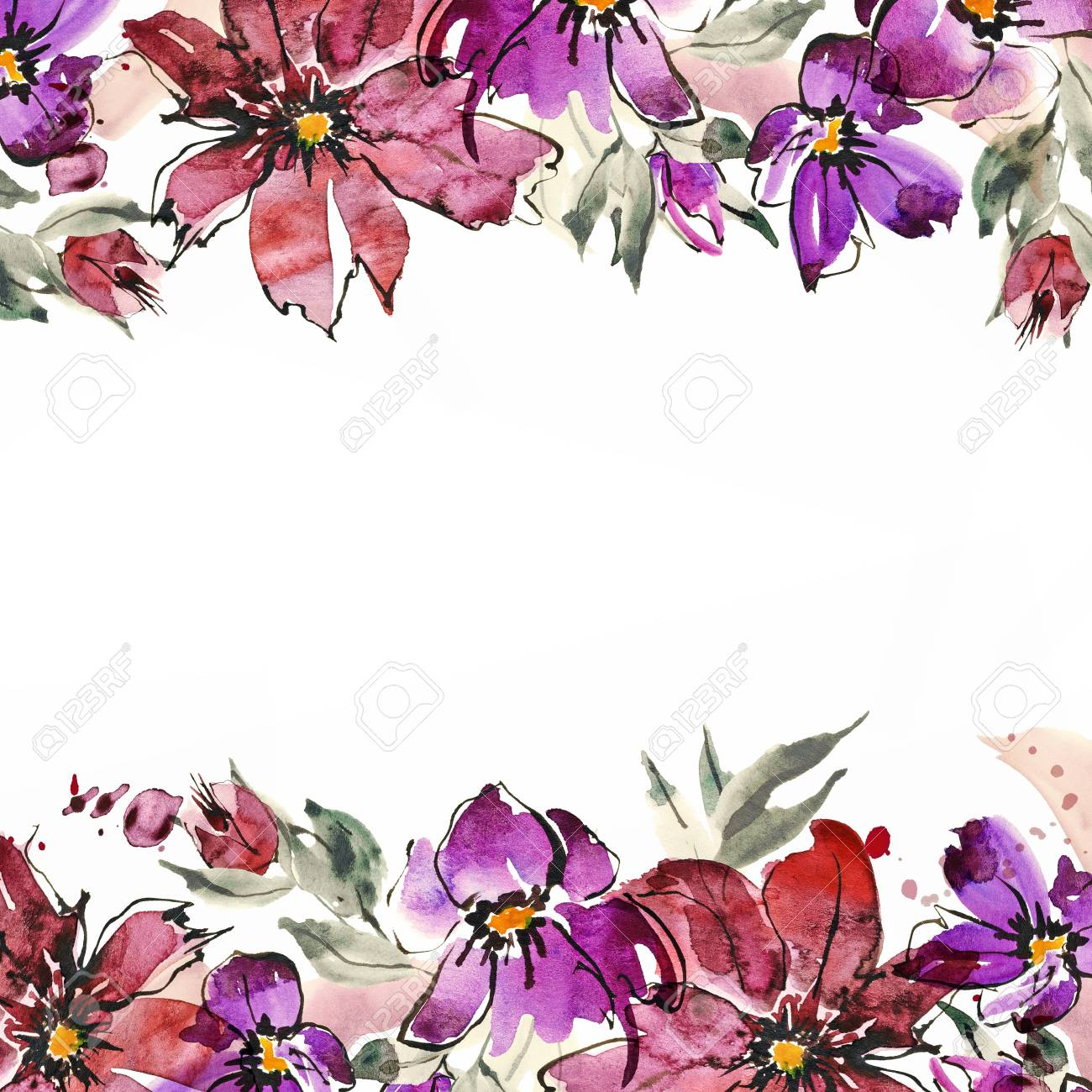 Hand Painted Flowers Invitation Wedding Card Birthday Card Banque