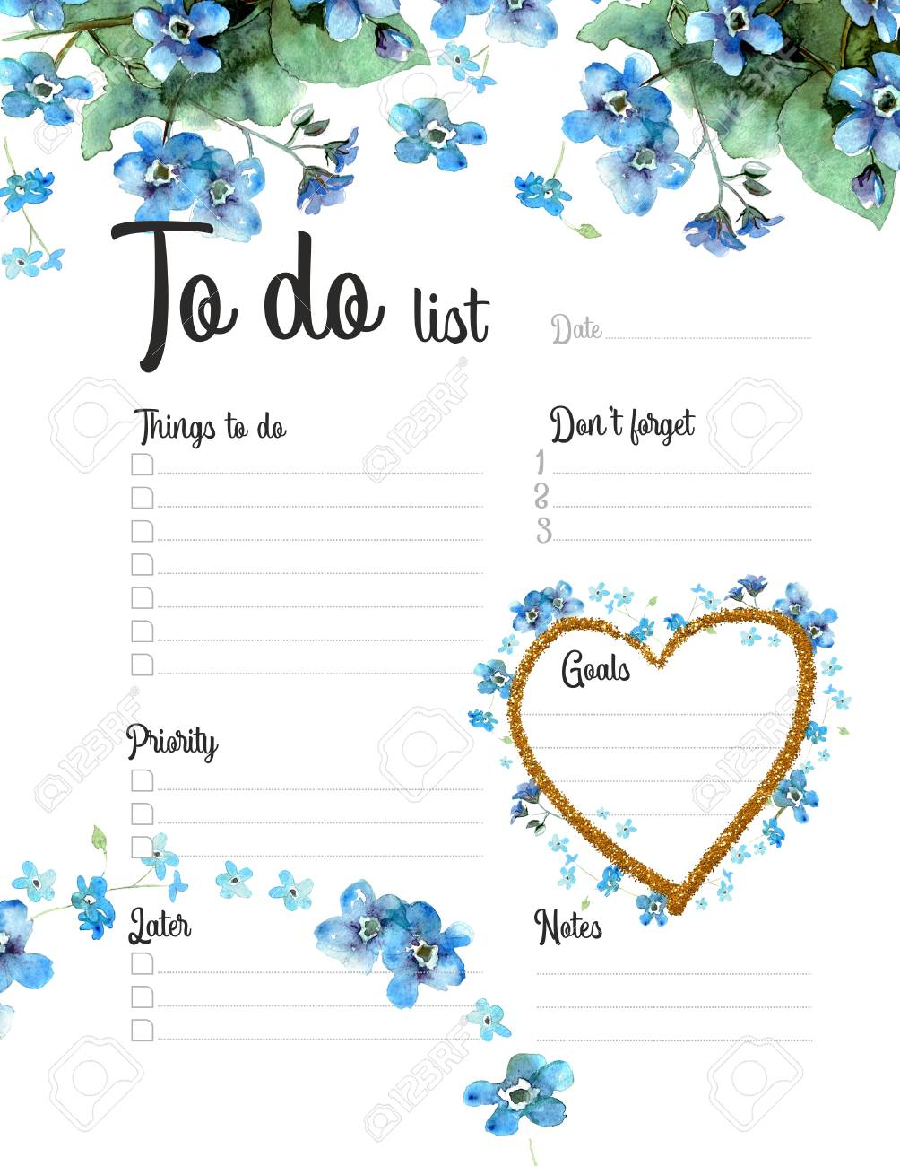 To Do list, daily planner witn watercolor forget-me-nots