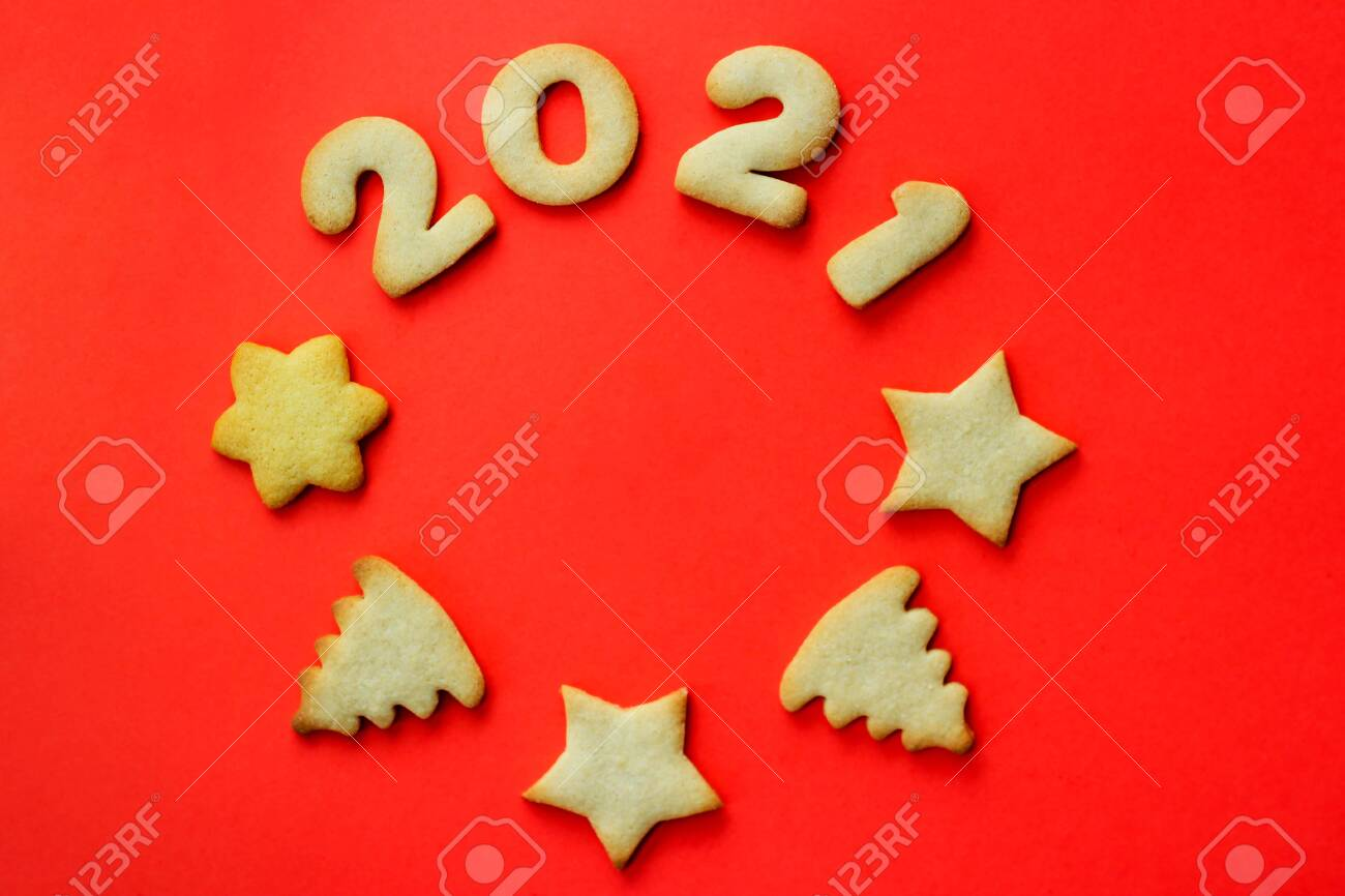 2021 Christmas Cookies Concept For 2021 Christmas Greeting Card Made Of Cookies On Stock Photo Picture And Royalty Free Image Image 156684553