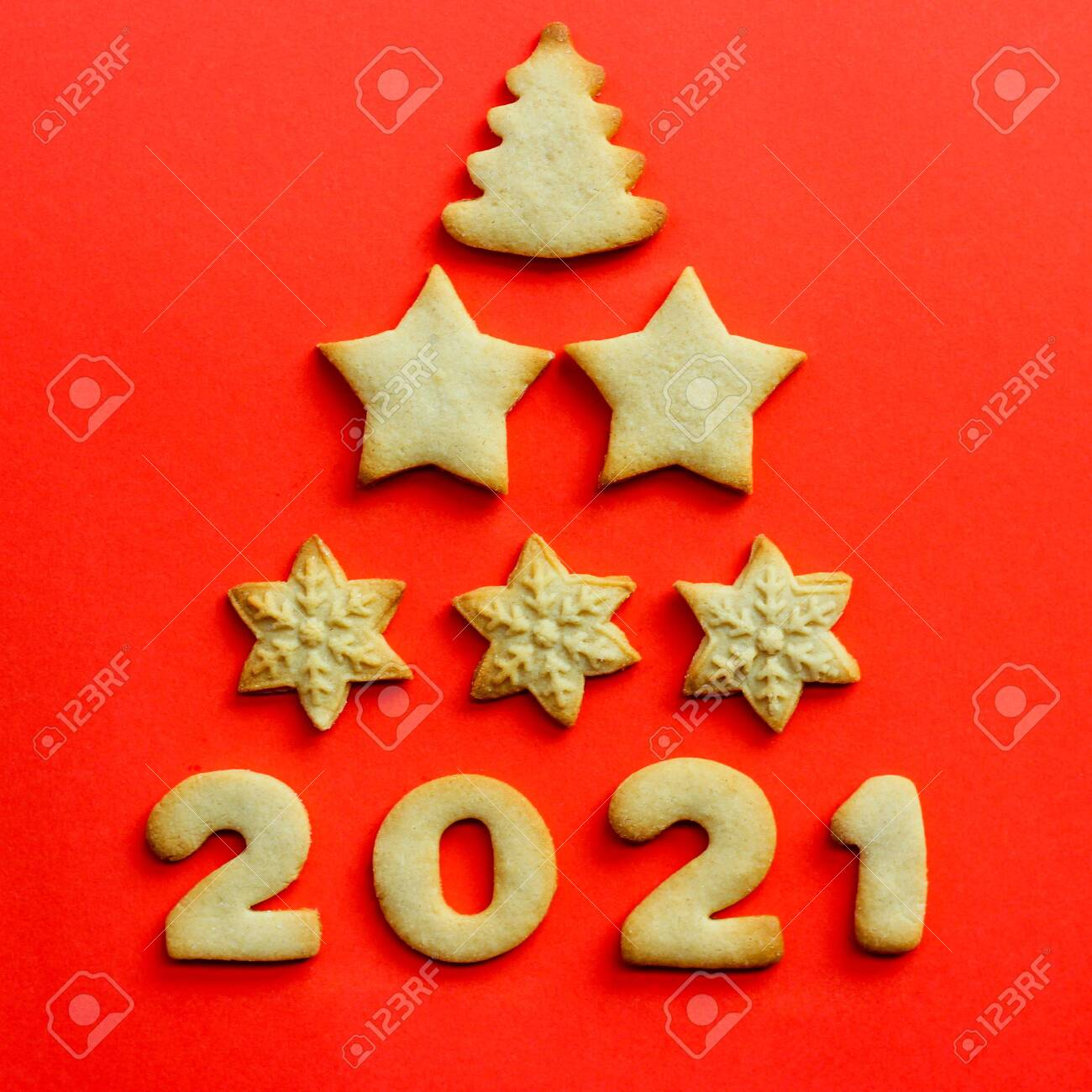 2021 Christmas Cookies Concept For 2021 Greeting Christmas Card Made Of Cookies On Stock Photo Picture And Royalty Free Image Image 156684556