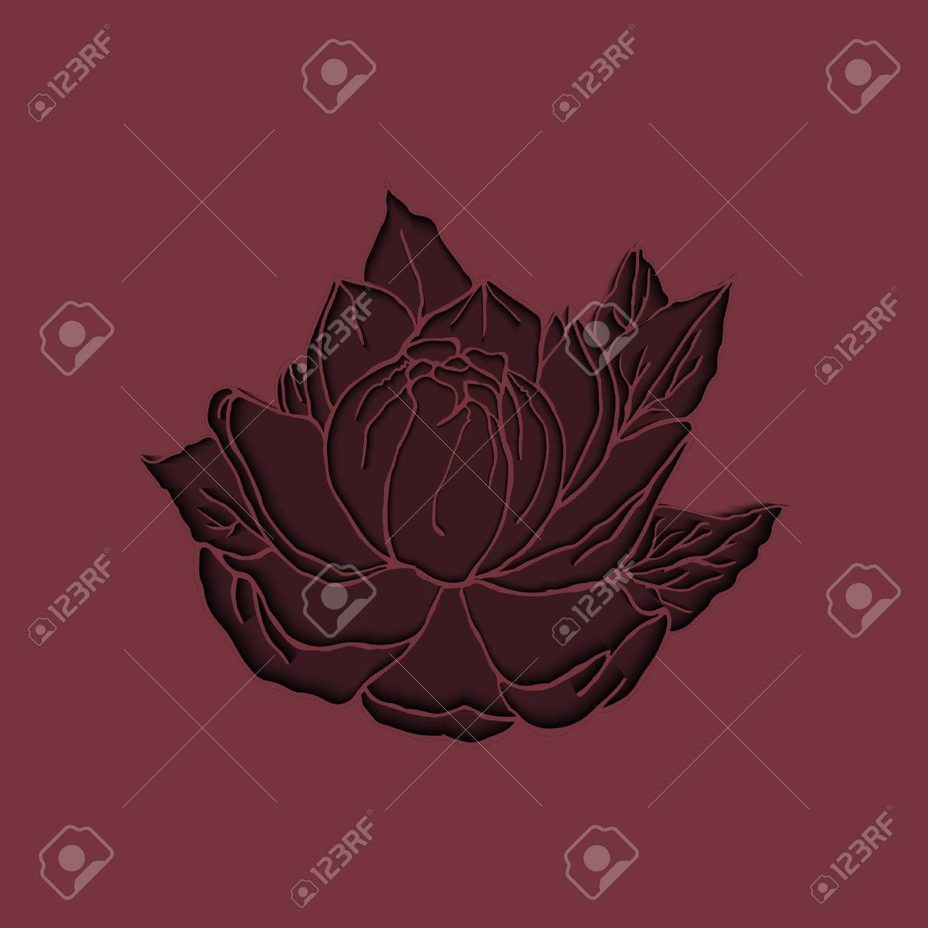 Cut Paper Burgundy Peony For Backgrounds, Cards, Wedding Invitations ...