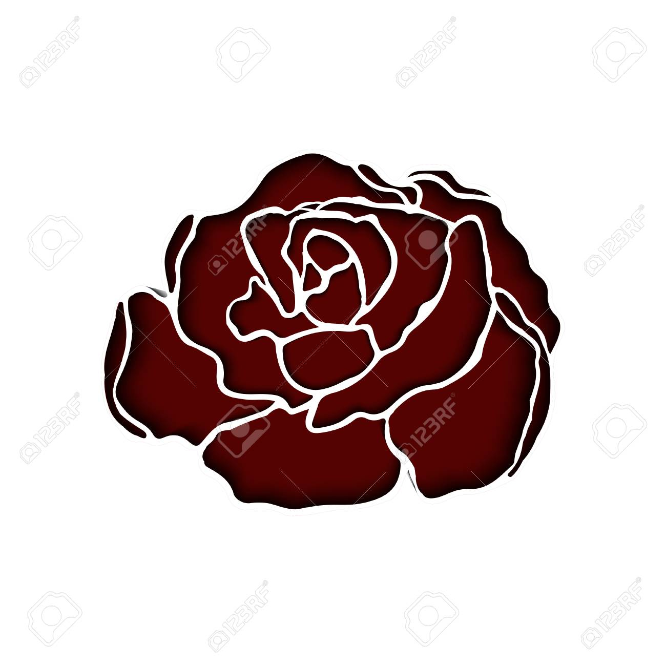 Red Paper Cut Rose For Backgrounds, Cards, Invitations, Valentines ...