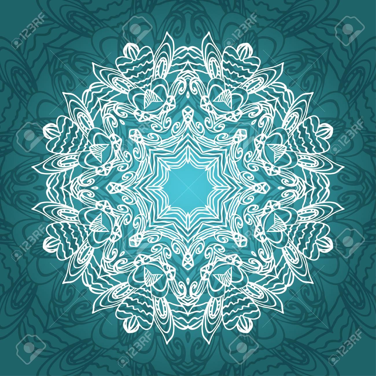 Mandala-Karte In Türkis Farben Für Hintergrund, Einladungen ...