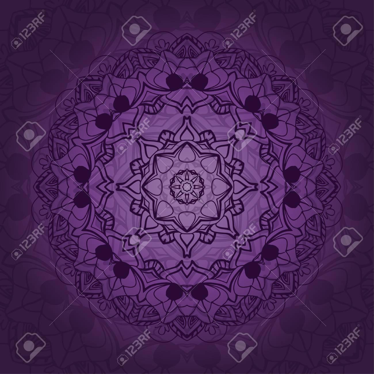 Mandala-Karte In Lila Farben Für Hintergrund, Einladungen ...