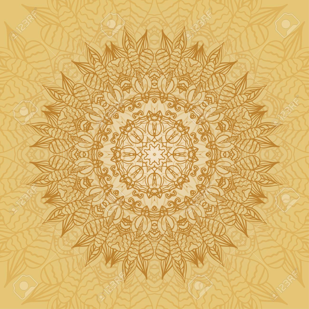 Mandala-Karte In Den Gelben Farben Für Hintergrund, Einladungen ...