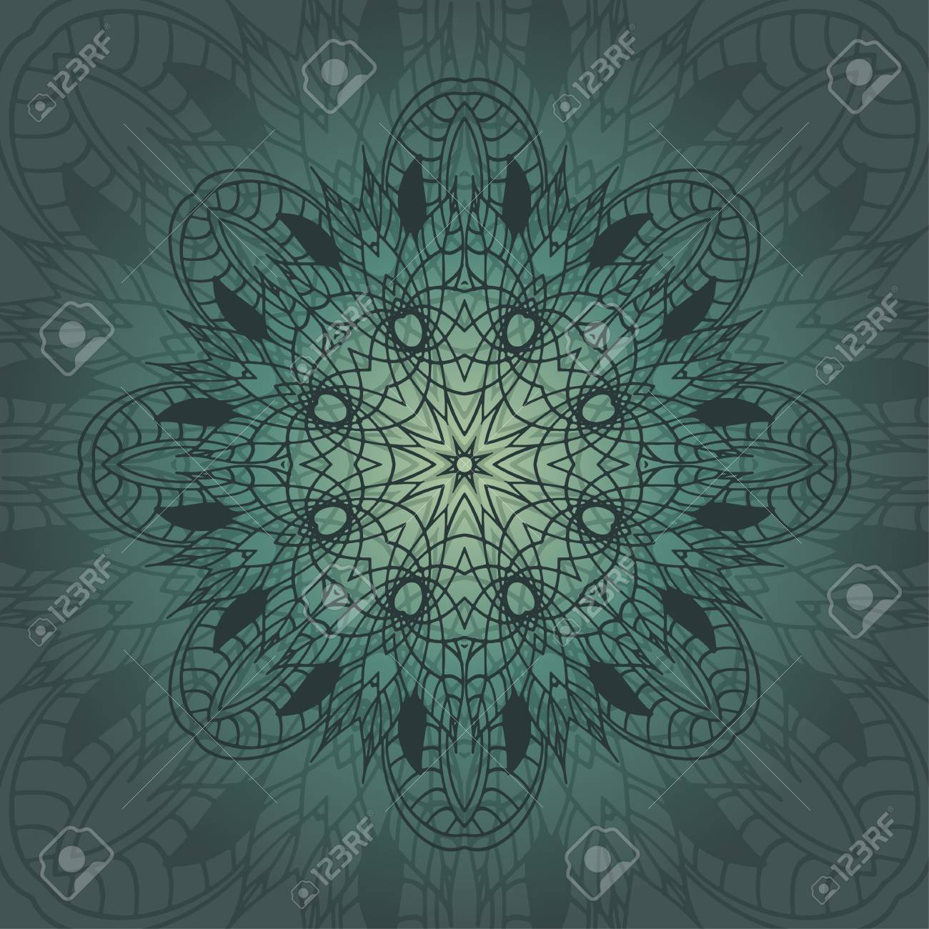 Mandala Karte In Smaragd Farben Für Hintergrund, Einladungen ...