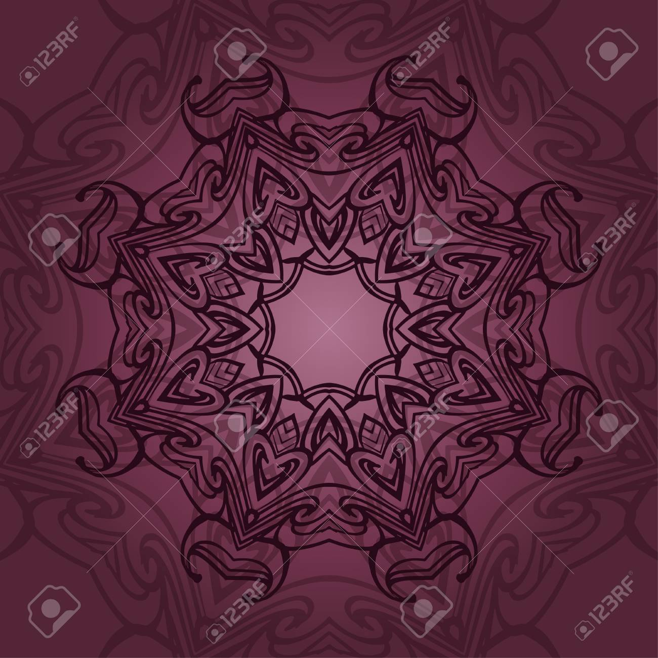 Mandala-Karte In Burgunder Farben Für Hintergrund, Einladungen ...
