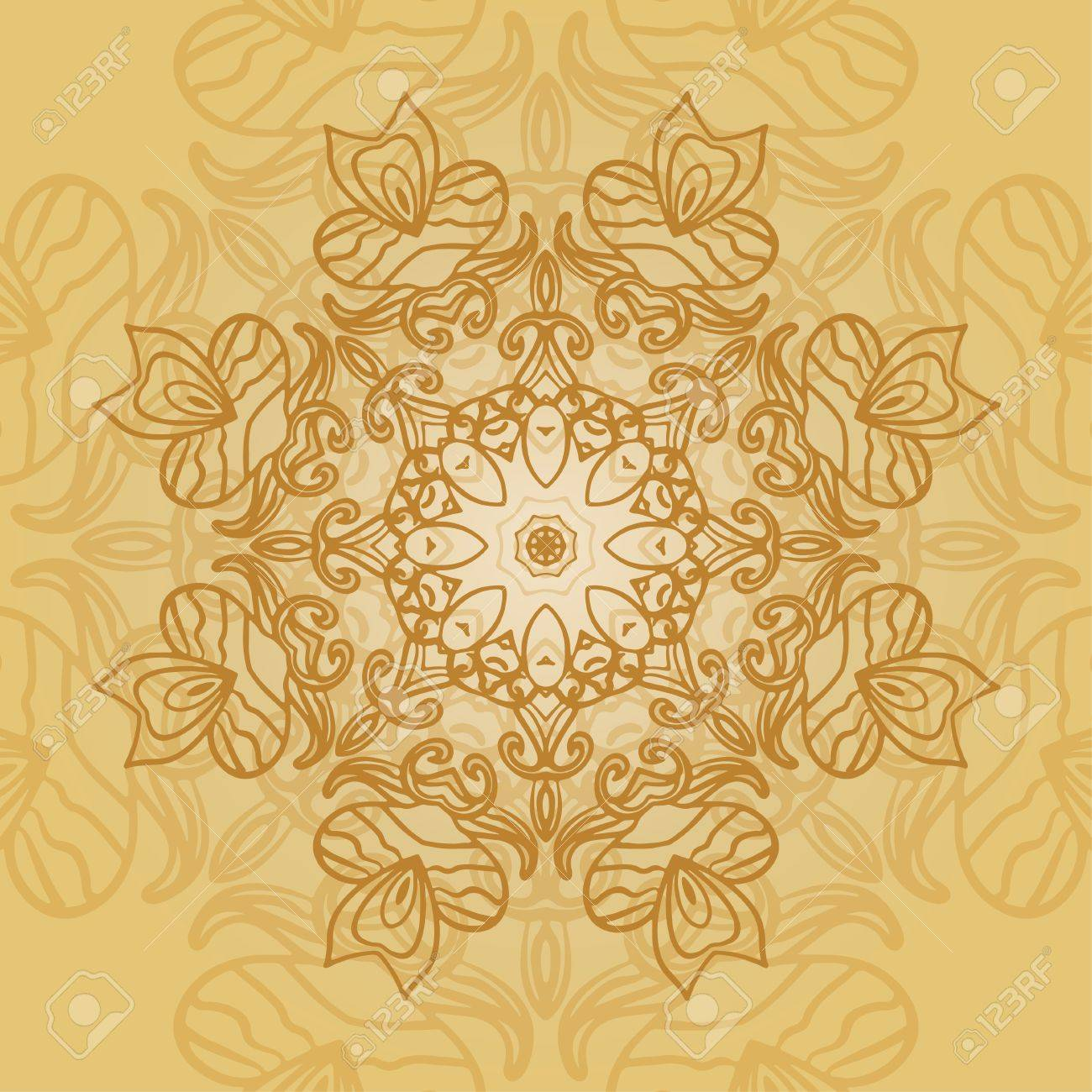 Mandala Card In Yellow Colors For Backgrounds Invitations Birthday
