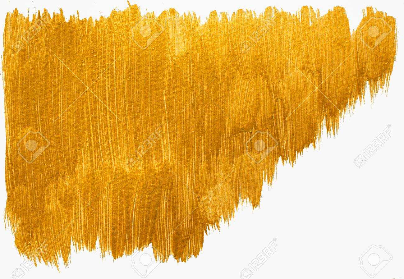 Gold painted acrylic background  Golden acrylic banner isolated