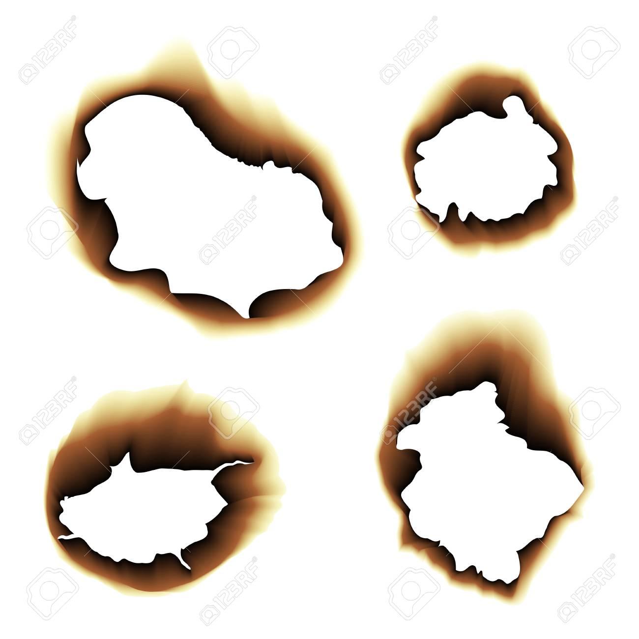 白い背景の焦げた紙穴ベクトル図を燃やしたのイラスト素材ベクタ