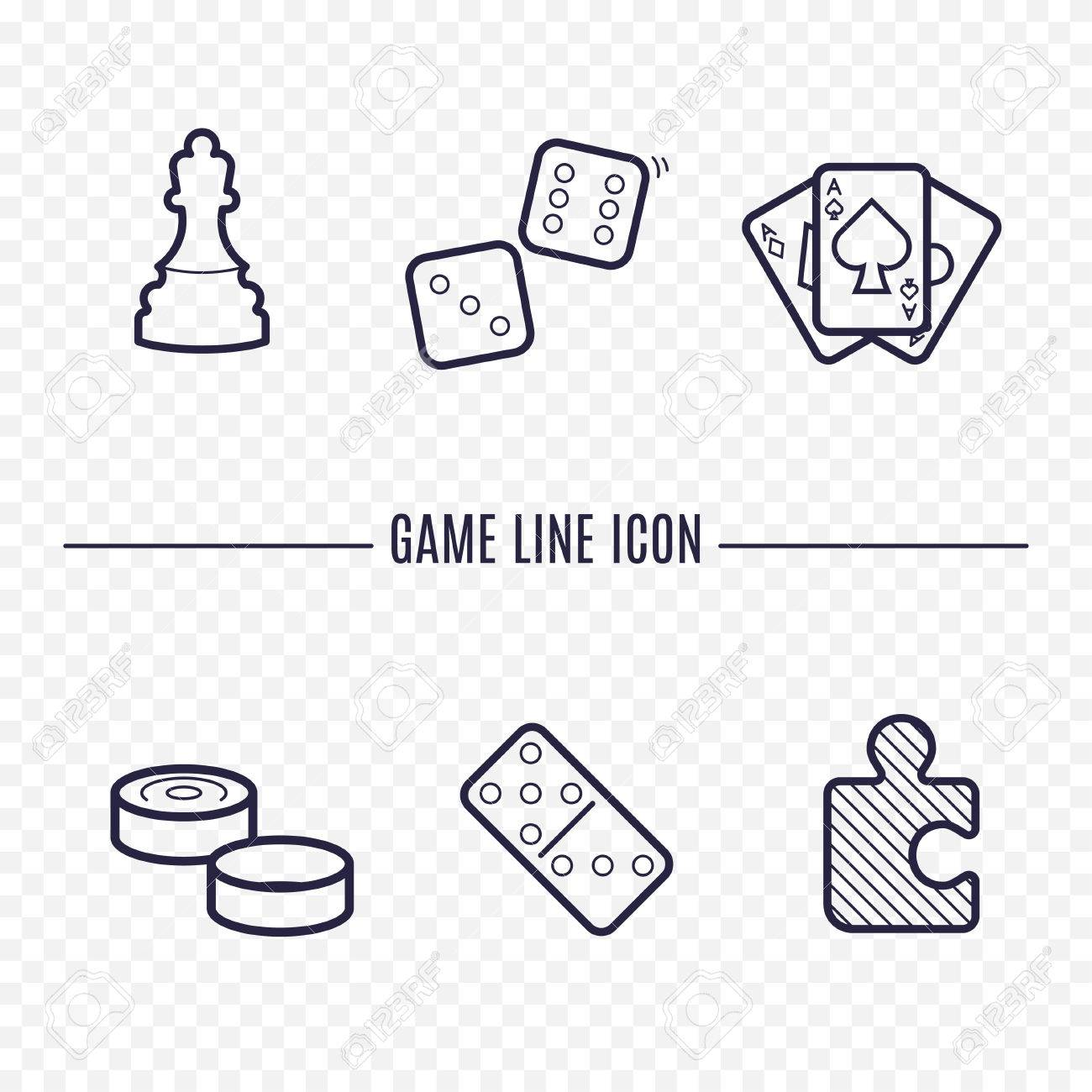Games Linear Icons Chess Dice Cards Checkers And Other Board - Game outline