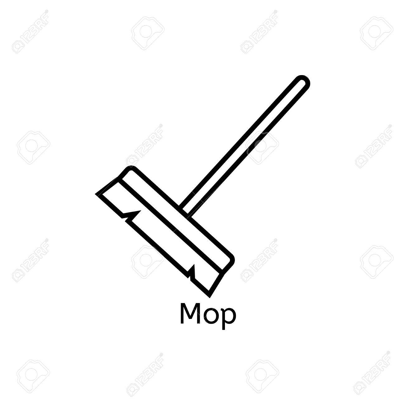 Mop Simple Line Icon Floor Cleaning Thin Linear Signs Cleaning
