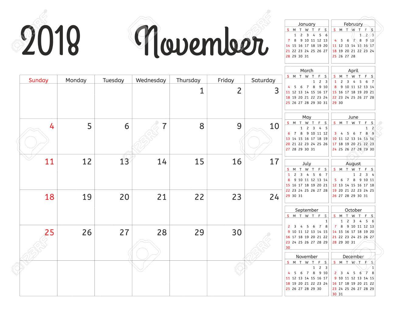 simple calendar planner for 2018 year vector design november template set of 12 months