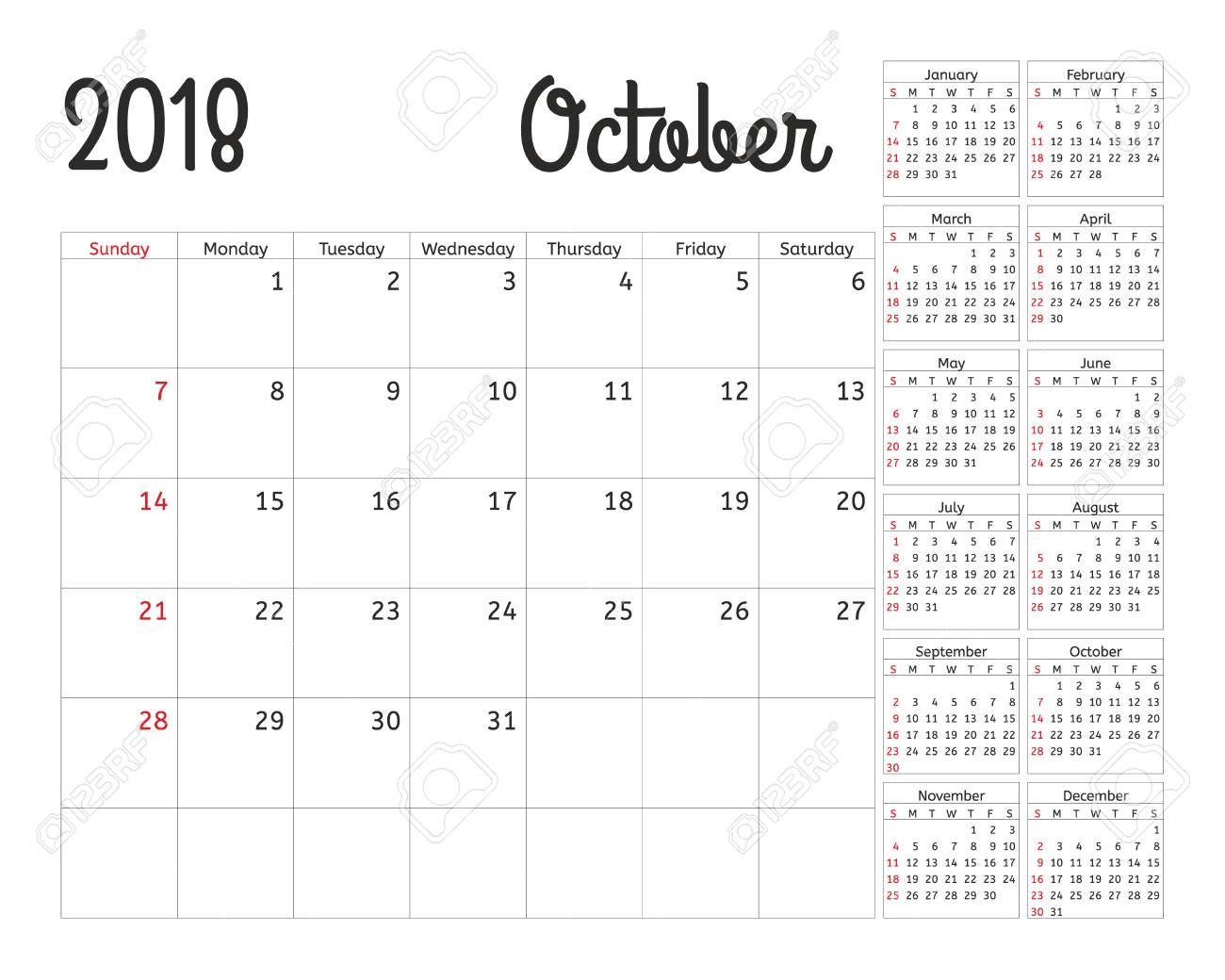 Planificador De Calendario Simple Para 2018 Año. Vector Diseño ...