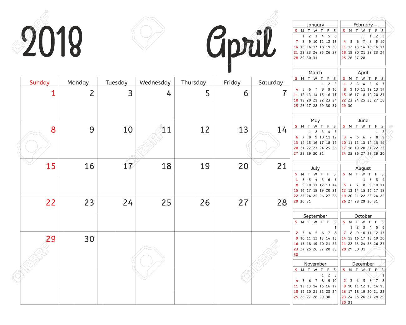 Simple calendar planner for 2018 year  Vector design April template