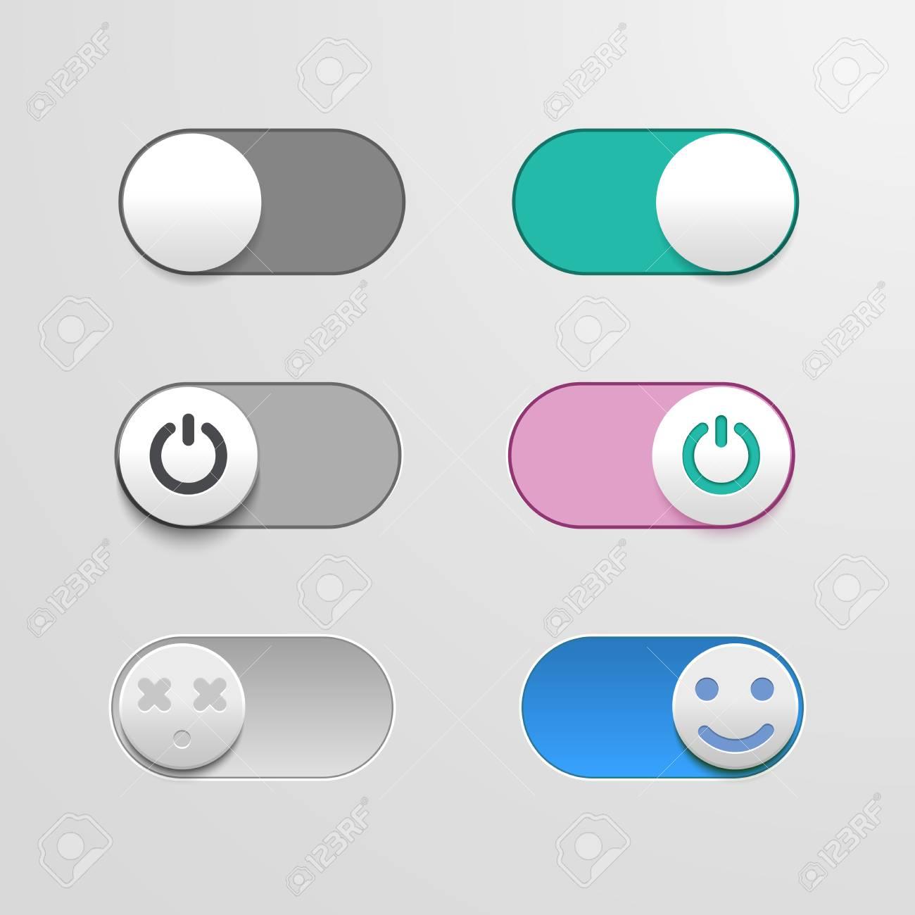 Toggle Switch Set On Und Off Schieberegler Elemente Fr Ihr Design Standard Bild Die Schalter In Form Von Smiley