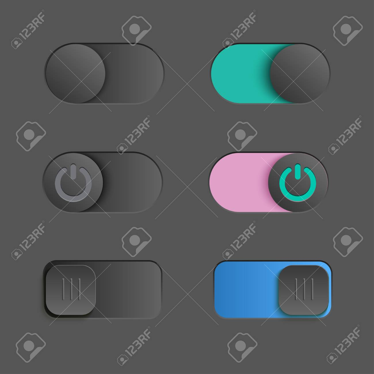 Toggle Switch Set, On And Off Sliders, Elements For Your Design ...