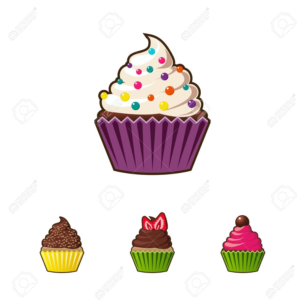 Cupcakes And Muffins Cartoon Icon Royalty Free Cliparts Vectors