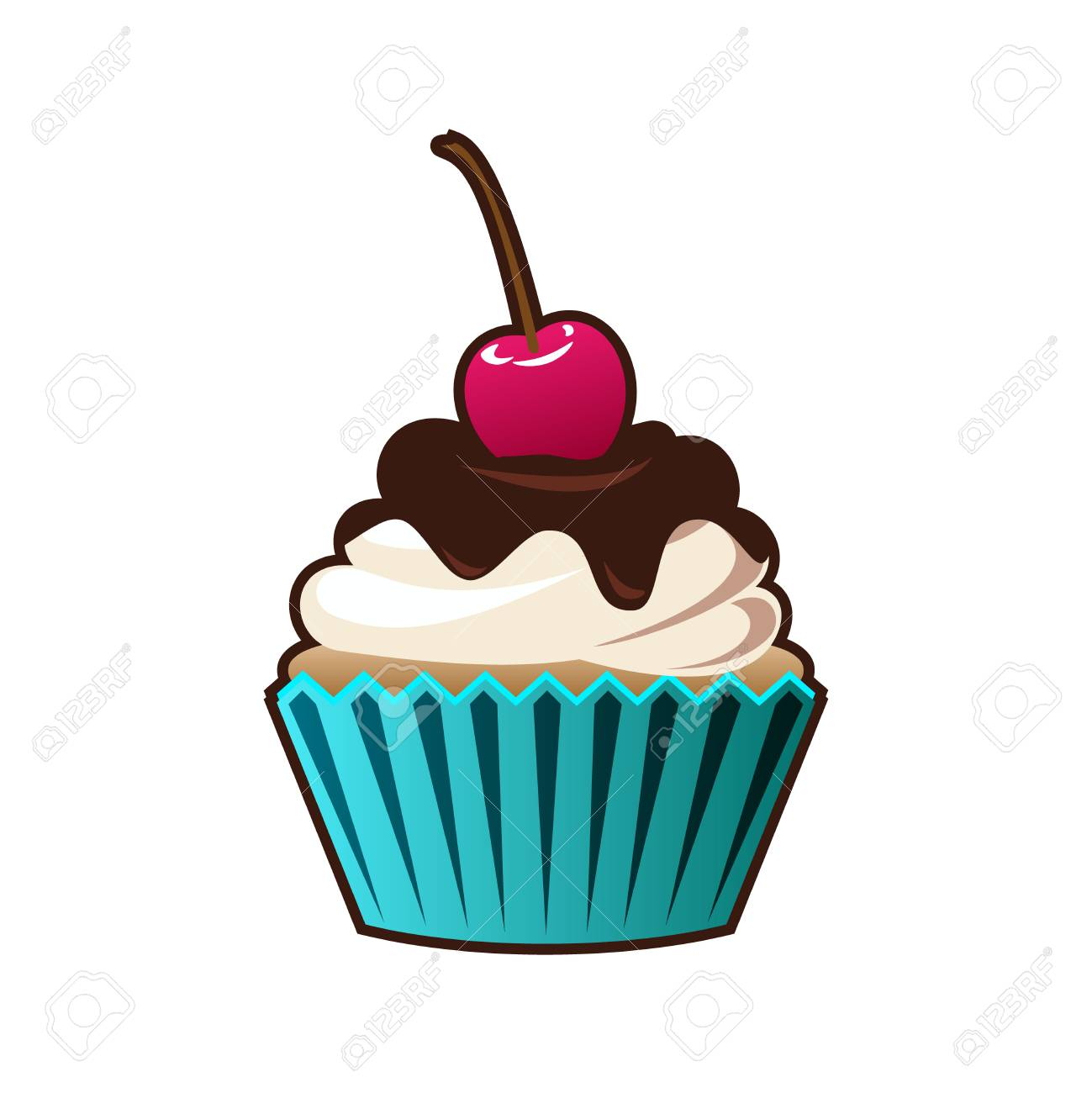 cupcakes and muffins cartoon icon royalty free cliparts vectors rh 123rf com cartoon cake pictures cartoon cake pictures