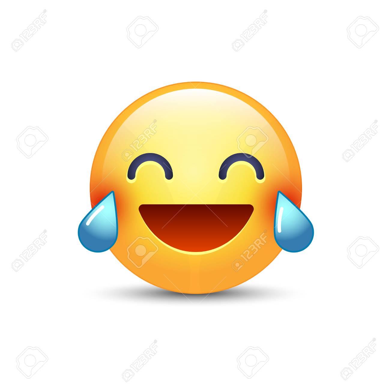 Lachender Smiley Mit Tränen Der Freude Glücklicher Karikatur