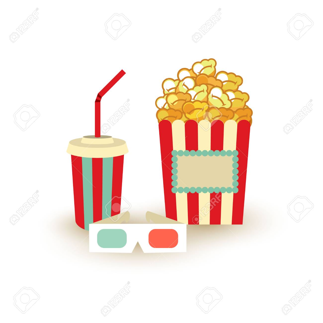 Movie Poster Template Popcorn Soda Takeaway 3d Cinema Stereo Royalty Free Cliparts Vectors And Stock Illustration Image 87213952