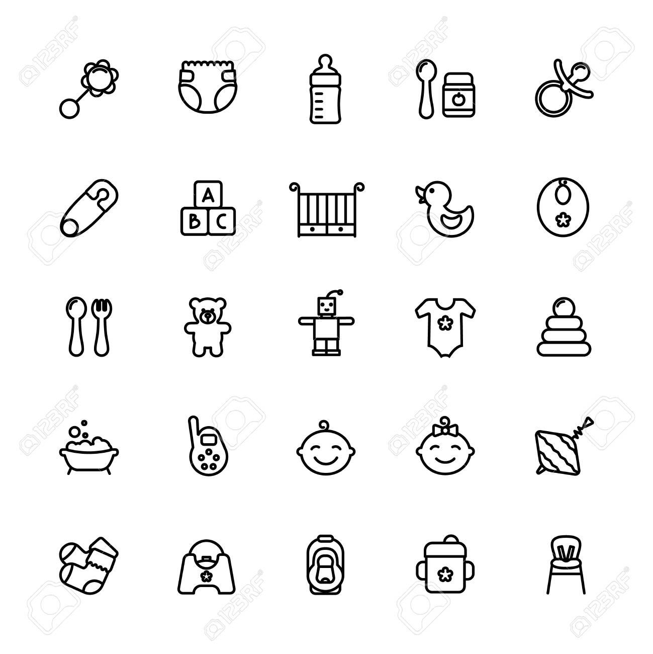Conjunto de iconos de línea fina de cuidado de bebé. Esquema de  alimentación por golpes 752314a883f