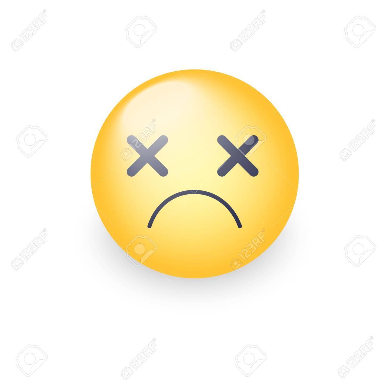 Visage Emoji Dizzy Croiser Les Yeux émoticône Vector Icon Smiley De Dessin Animé Triste