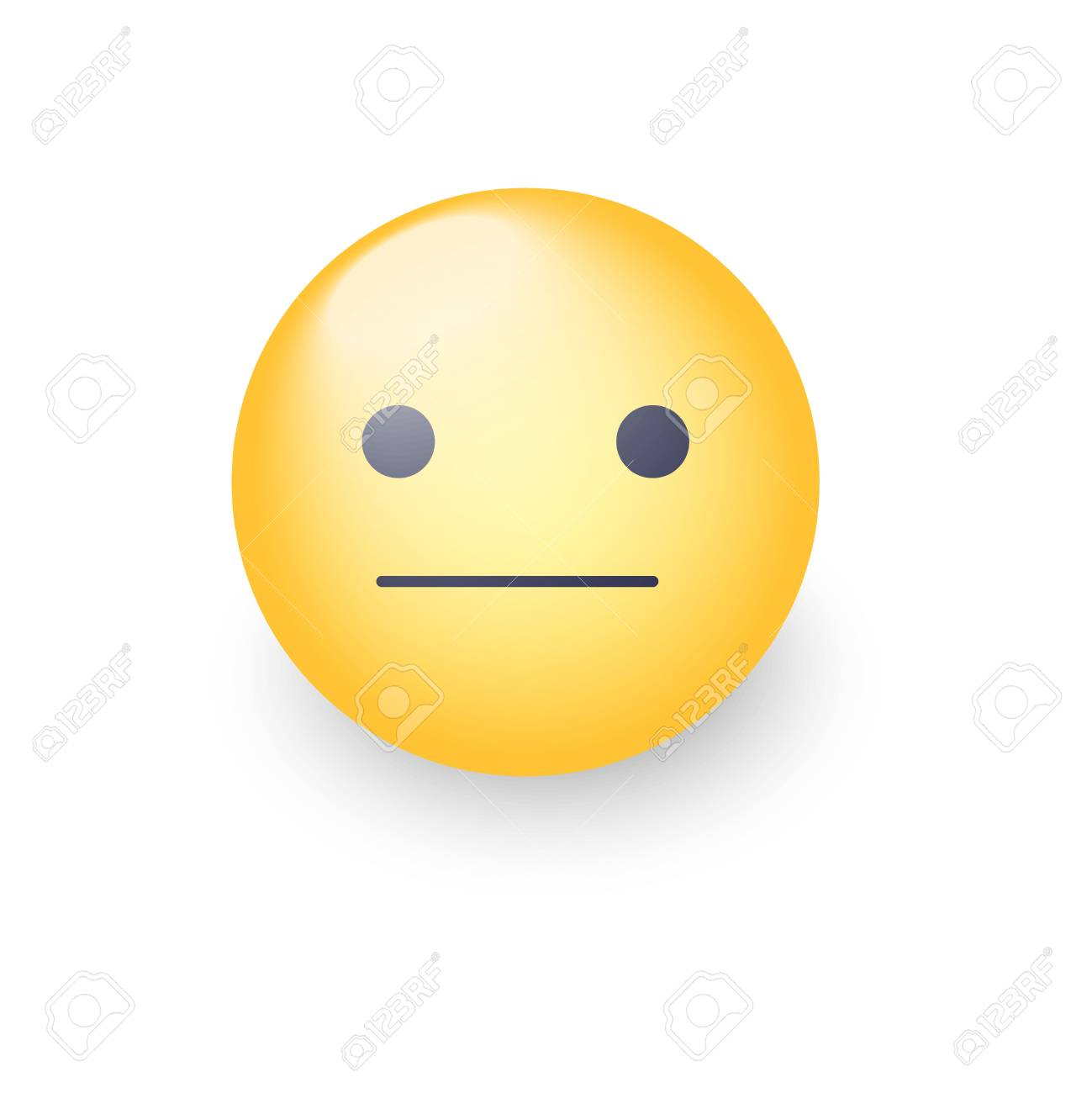 Indifferent emoji cartoon icon. Expressionless emoticon face. Neutral smiley mood - 87214296