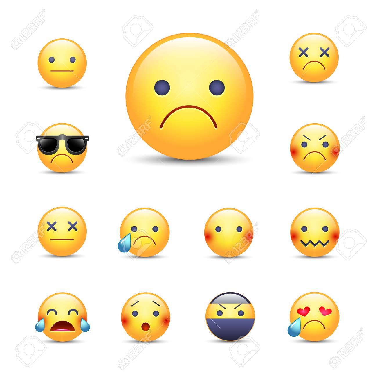 Triste Désolé Dessin Animé Vecteur Visage Emoji Ensemble Malheureux En Pleurs En Colère Dépresserd Smileys Ninja Dans Les Lunettes De Soleil Et