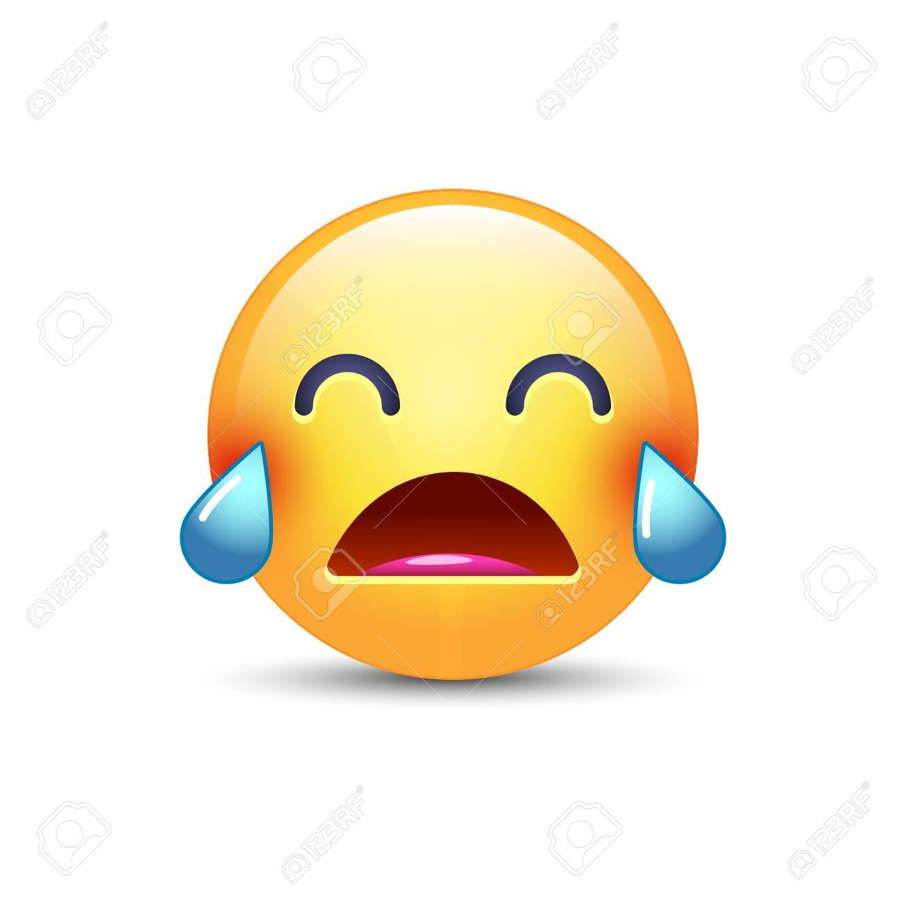 Emoji Qui Pleure Fort Smiley Avec Les Yeux Fermes Et Avec Des Larmes Pleure Emoticone Triste Pour L Application Et Le Chat Clip Art Libres De Droits Vecteurs Et Illustration Image 87214341