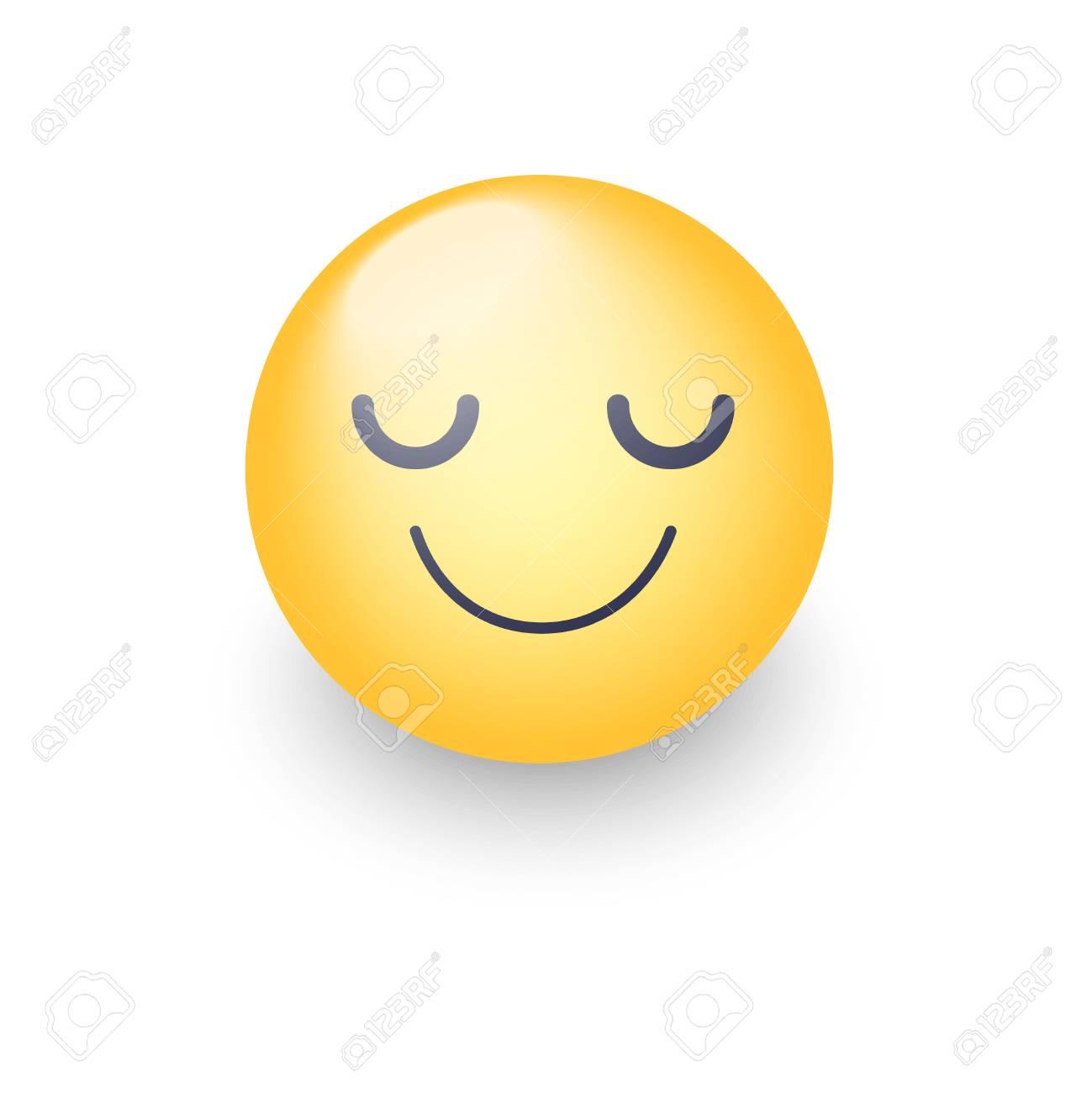 Visage D Emoji Heureux Dessin Animé Avec Les Yeux Fermés Souriant émoticône Mignon Jaune Smiley Amusant Pour L Application Et Le Chat