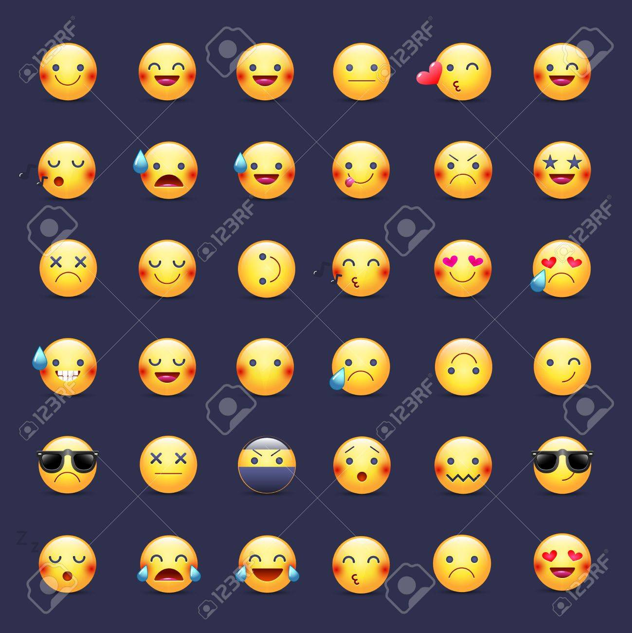 Smileys vector icon set. Emoticons pictograms. Happy, merry, singing, sleeping, ninja, crying, in love and other round yellow smileys. Large collection of smiles - 87214556