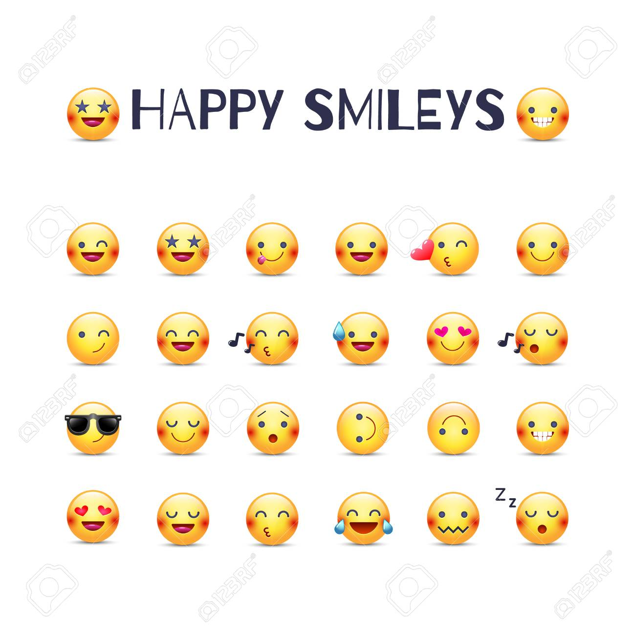 Happy smileys vector icon set. Joy emoticons pictograms collection. Happy round yellow smileys. Laughing, joyful, in love, cheerful, mischievous and others emoji face - 87214563
