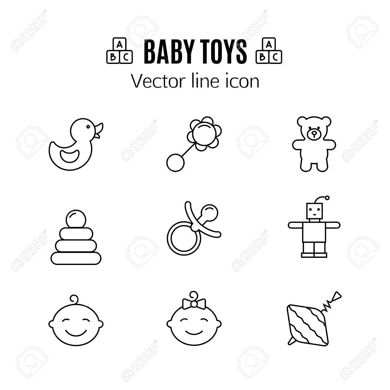 Dünne Linie Ikone Der Babyspielwaren. Umriss Symbol