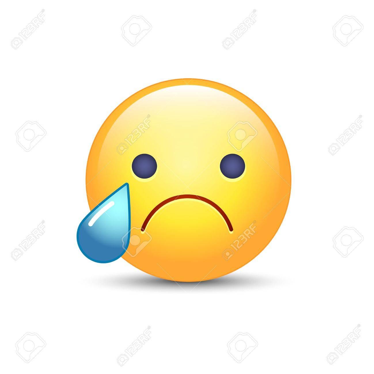 Disappointed emoji face. Crying vector cartoon smiley. Sad emoticon mood. - 87214571