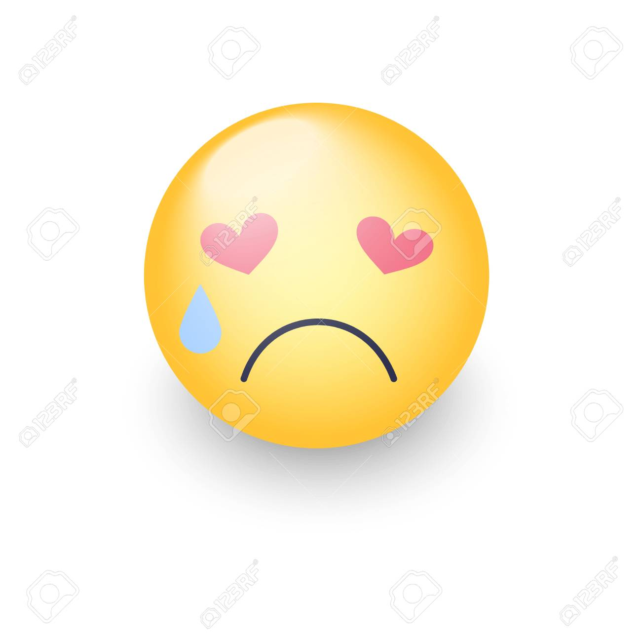 Smiley Amoureux Triste Avec Des Yeux En Forme De C Ur Crying Emoji Face Emoticone De Dessin Anime Mignon Avec Des Larmes Aux Yeux Coeur Brise Clip Art Libres De Droits Vecteurs