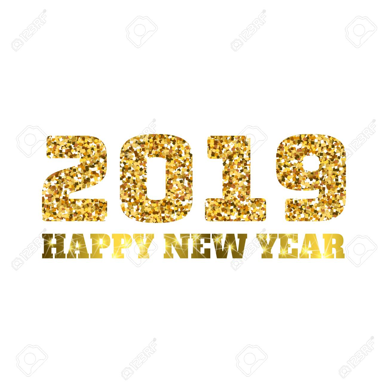 Happy new 2019 year. Gold glitter particles. Shine gloss brilliance sparkles sign. Holidays vector design element for calendar, party invitation, card, poster, banner, web. - 93150410