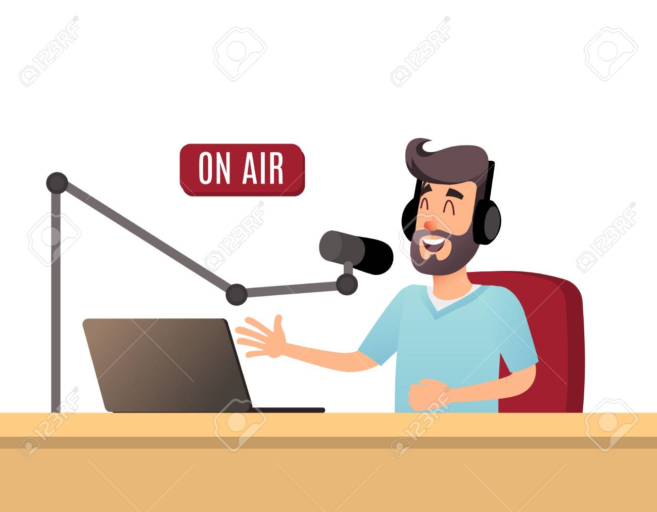 The radio presenter is talking on the air. A young radio DJ in headphones is working on a radio station. Broadcasts flat design illustration. - 94756457