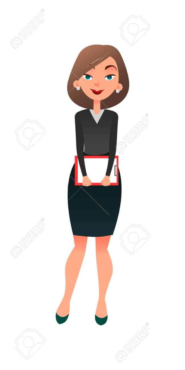 Job Interview. Young Cartoon Woman Candidate For Work. A Confident ...