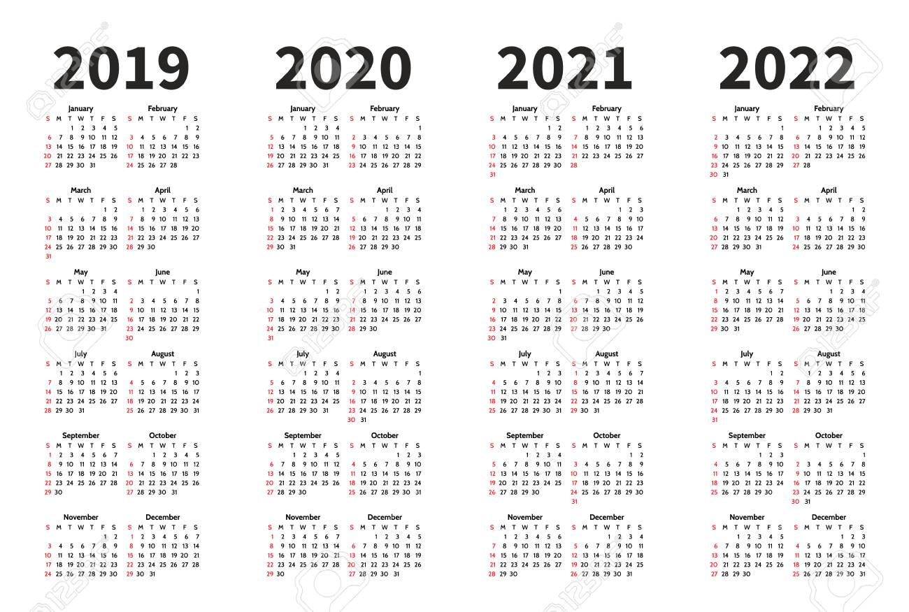 Calendrier Trial 4×4 2022 Calendar 2019, 2020, 2021 And 2022 Year Vector Design Template